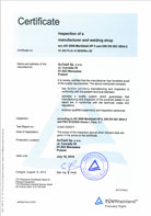 ISO 3834-2 Inspection of a manufacturer and welding shop