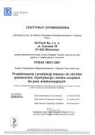 OHSAS 18001:2007 - Certyfikat zatwierdzenia
