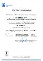 ISO 50001:2011 - – Certyfikat zatwierdzenia