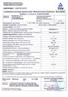 TÜV Certyfikat EN ISO 15614-1; PED 97/23/EC Kwalifikiwanie Technologii Spawania Metali (WPQR)